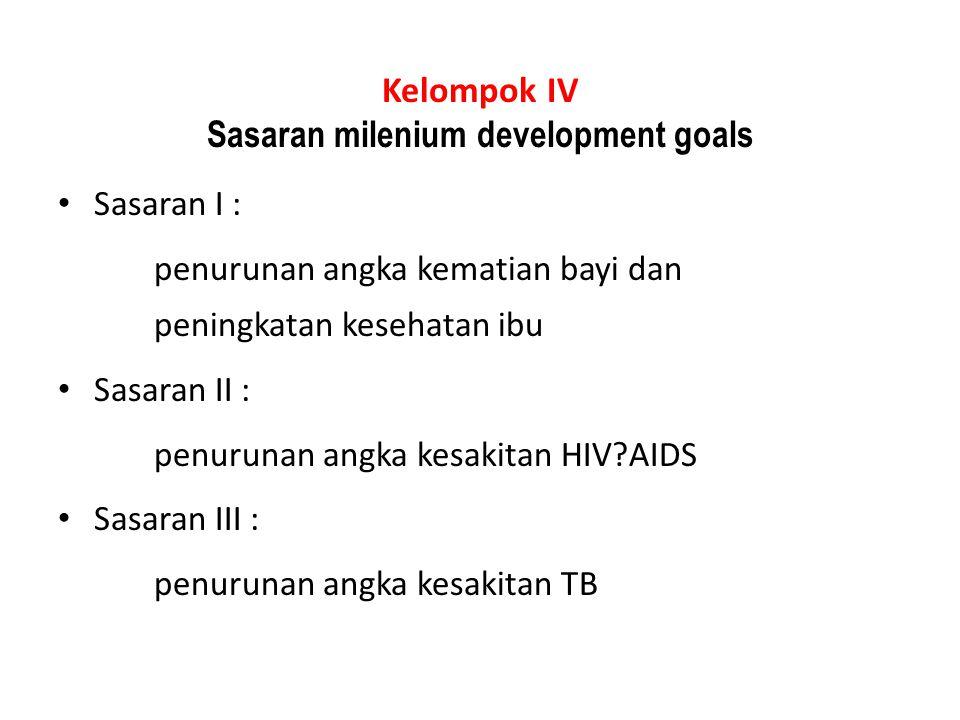 Kelompok IV Sasaran milenium development goals