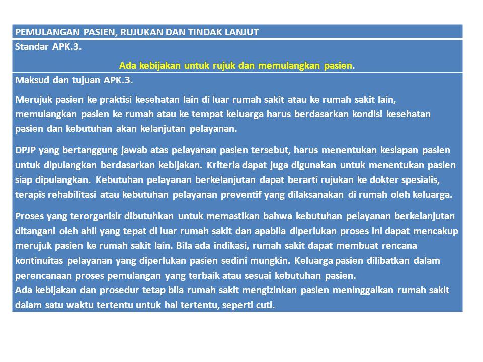 Ada kebijakan untuk rujuk dan memulangkan pasien.