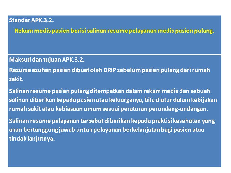 Standar APK.3.2. Rekam medis pasien berisi salinan resume pelayanan medis pasien pulang. Maksud dan tujuan APK.3.2.