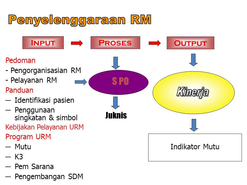Penyelenggaraan RM S PO Input Proses Output Kinerja Juknis Pedoman
