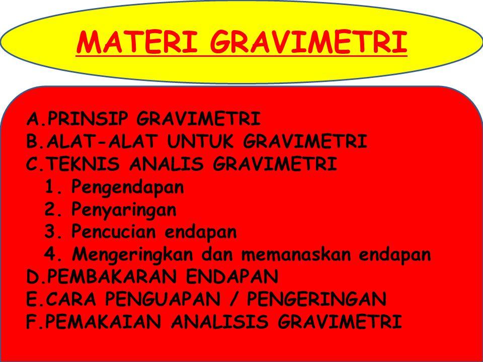 MATERI GRAVIMETRI PRINSIP GRAVIMETRI ALAT-ALAT UNTUK GRAVIMETRI