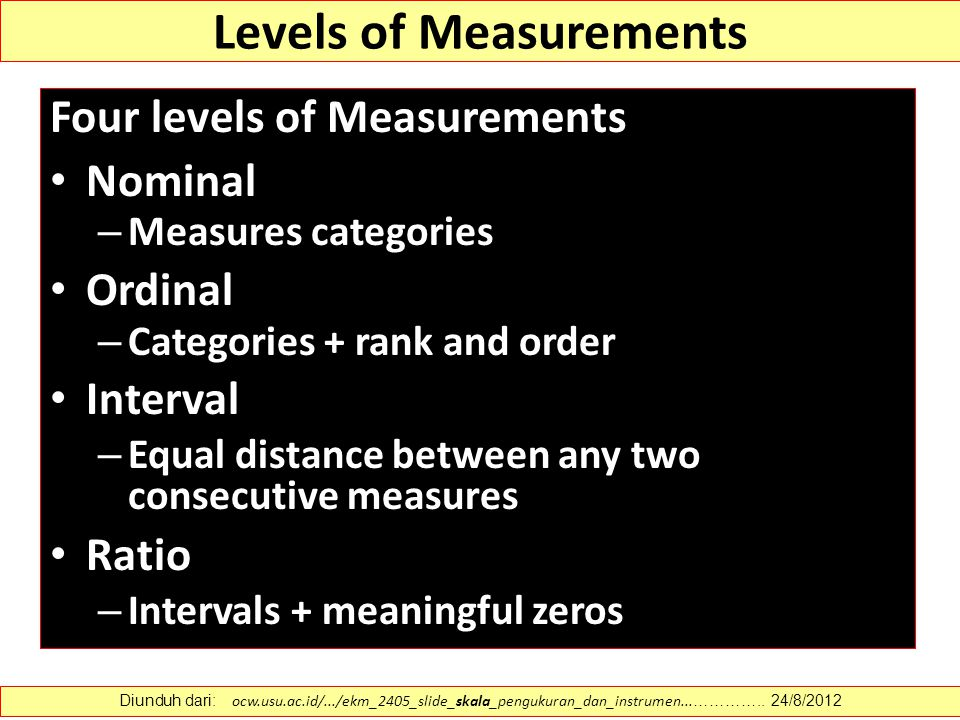describe the four levels of measurement nominal ordinal interval and ratio Describe the levels of data measurement there are four different levels of measurements: nominal, ordinal, interval, and ratio all levels of data are contacted but each higher level offers more information about the topic than the previous level.