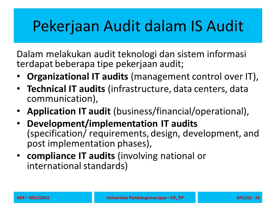 Pekerjaan Audit dalam IS Audit