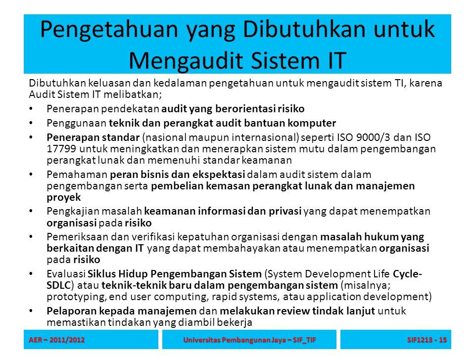 Pengetahuan yang Dibutuhkan untuk Mengaudit Sistem IT