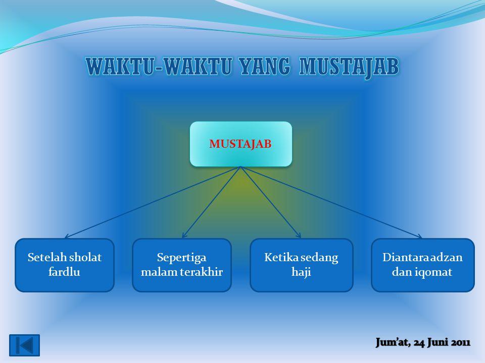 WAKTU-WAKTU YANG MUSTAJAB