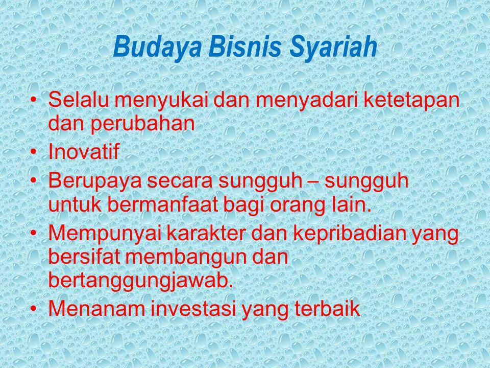 Budaya Bisnis Syariah Selalu menyukai dan menyadari ketetapan dan perubahan. Inovatif.
