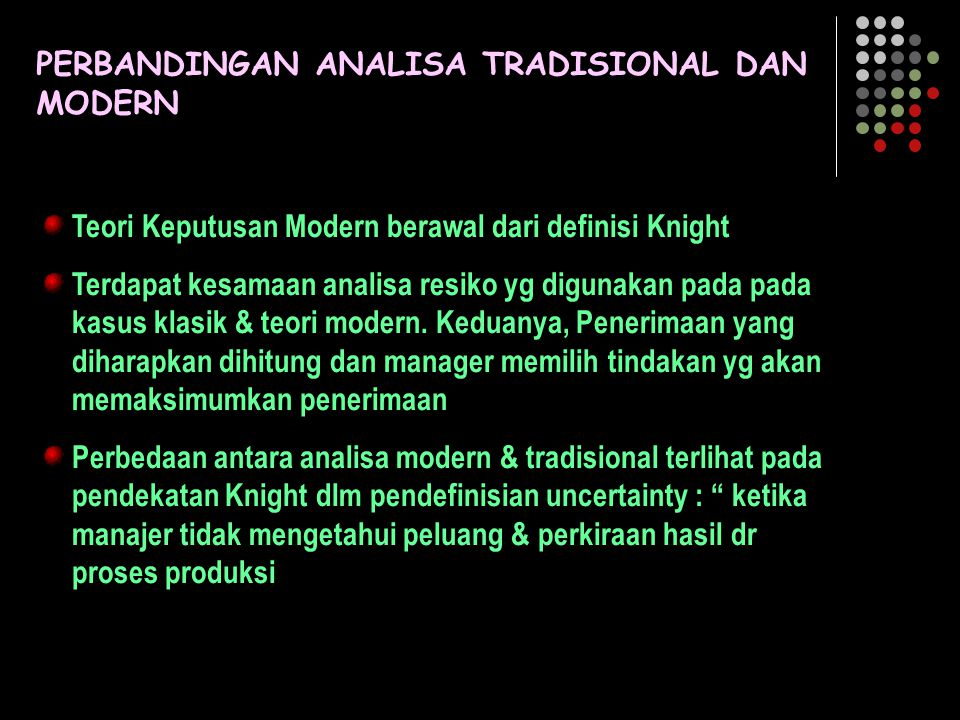 PERBANDINGAN ANALISA TRADISIONAL DAN MODERN