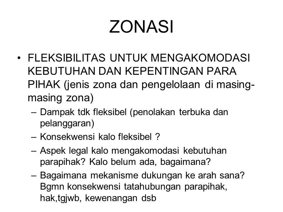 ZONASI FLEKSIBILITAS UNTUK MENGAKOMODASI KEBUTUHAN DAN KEPENTINGAN PARA PIHAK (jenis zona dan pengelolaan di masing-masing zona)
