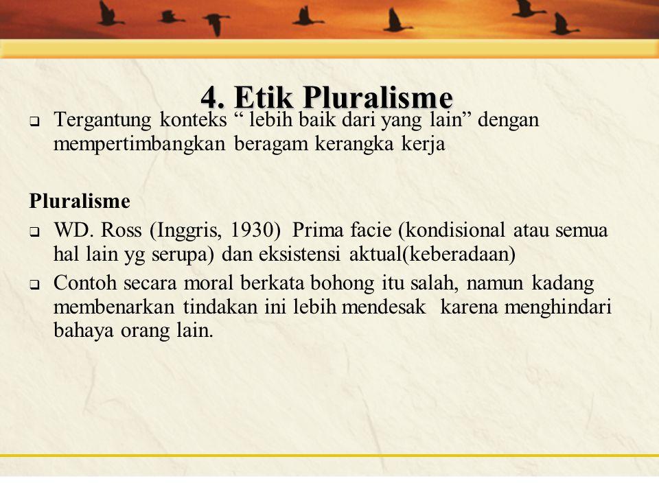 4. Etik Pluralisme Tergantung konteks lebih baik dari yang lain dengan mempertimbangkan beragam kerangka kerja.
