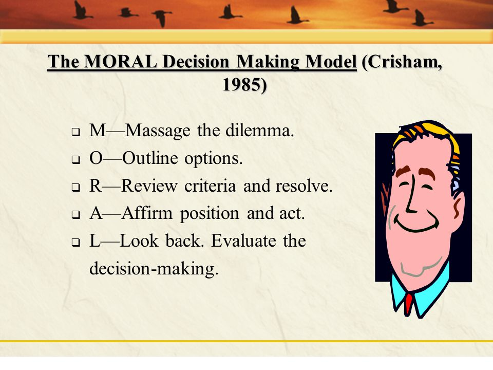 The MORAL Decision Making Model (Crisham, 1985)