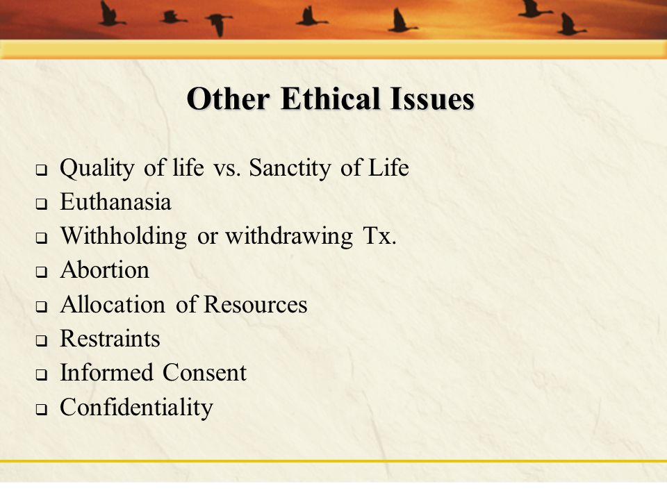 Other Ethical Issues Quality of life vs. Sanctity of Life Euthanasia