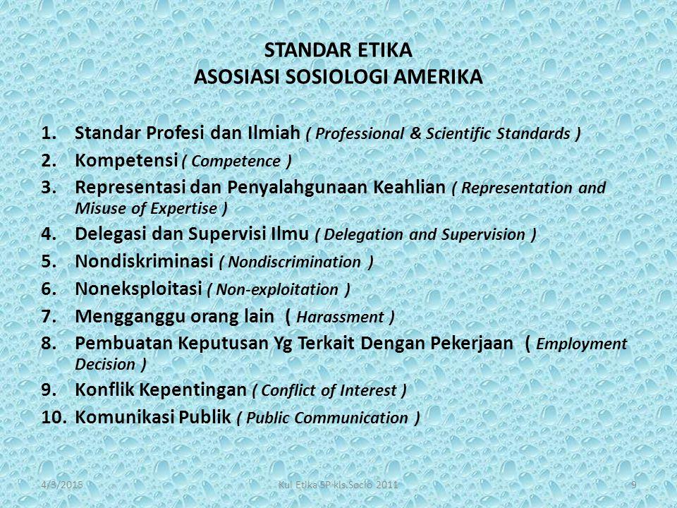 STANDAR ETIKA ASOSIASI SOSIOLOGI AMERIKA