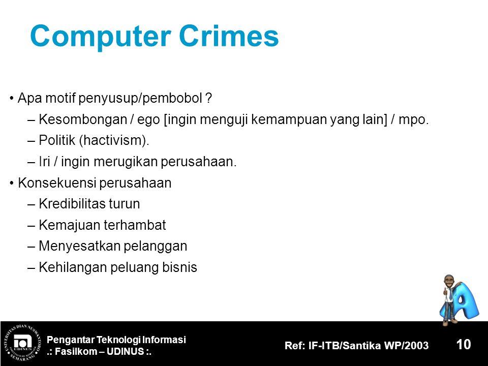 Computer Crimes • Apa motif penyusup/pembobol