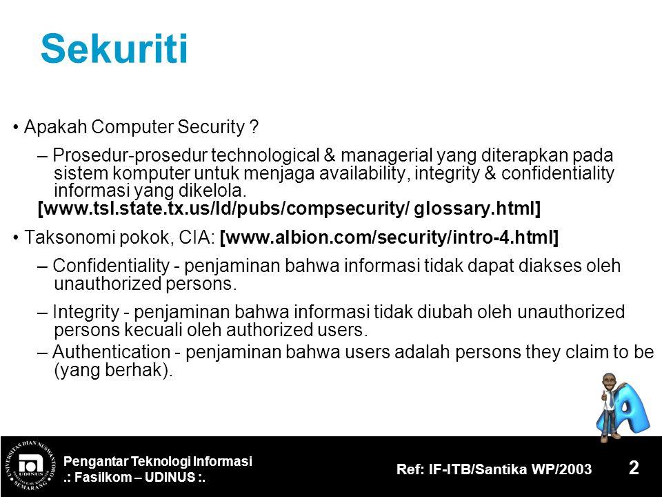 Sekuriti • Apakah Computer Security