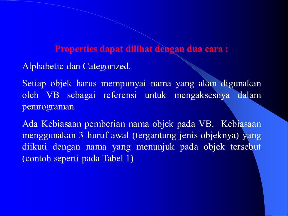 Properties dapat dilihat dengan dua cara :