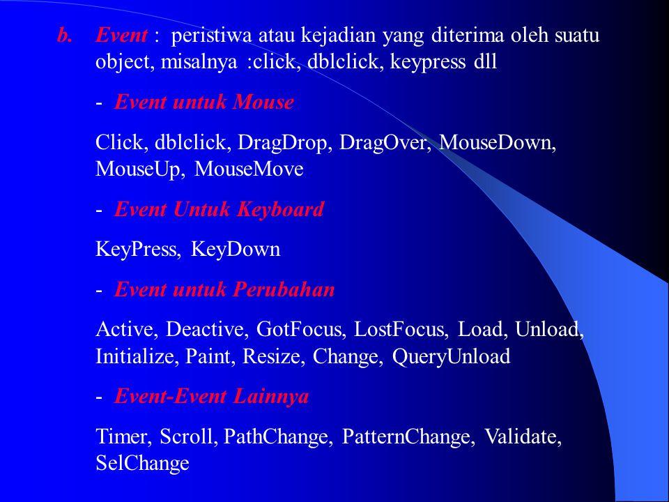 Event : peristiwa atau kejadian yang diterima oleh suatu object, misalnya :click, dblclick, keypress dll