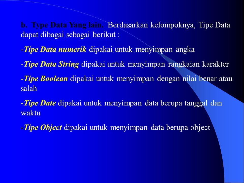b. Type Data Yang lain. Berdasarkan kelompoknya, Tipe Data dapat dibagai sebagai berikut :