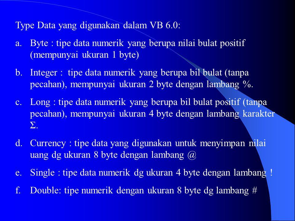 Type Data yang digunakan dalam VB 6.0: