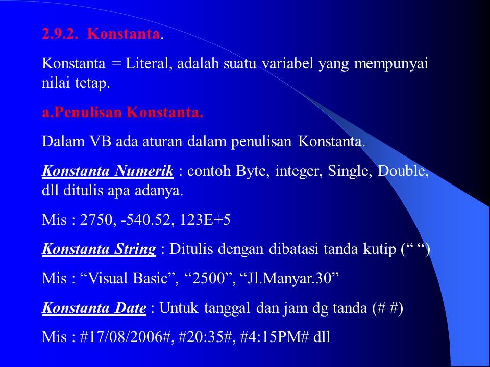 2.9.2. Konstanta. Konstanta = Literal, adalah suatu variabel yang mempunyai nilai tetap. Penulisan Konstanta.