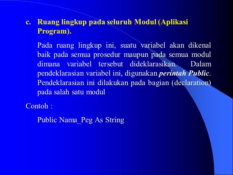 Ruang lingkup pada seluruh Modul (Aplikasi Program).