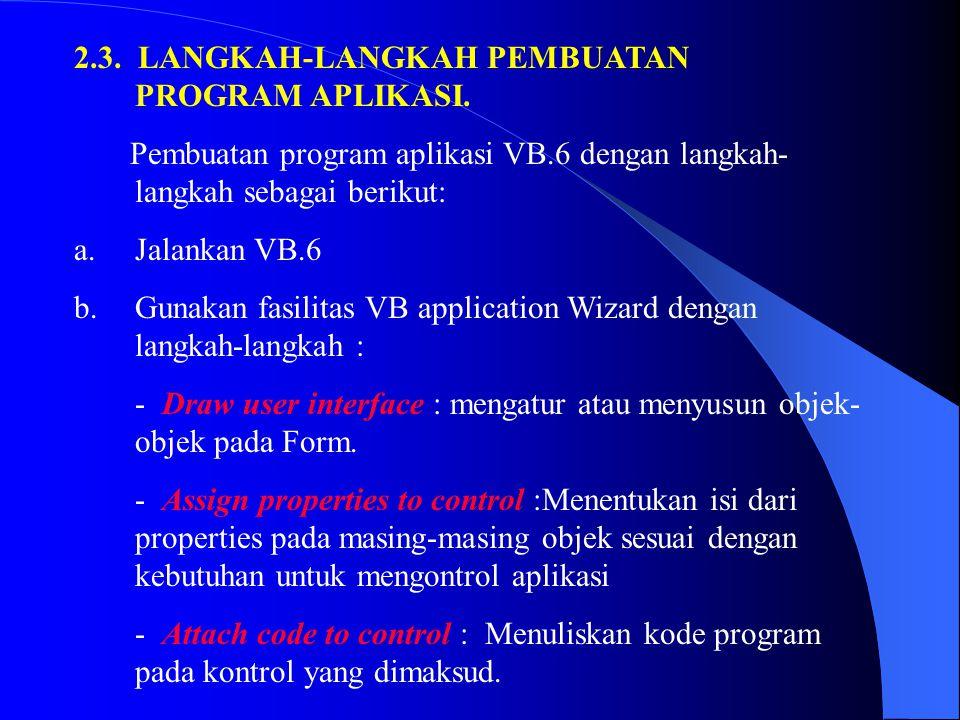 2.3. LANGKAH-LANGKAH PEMBUATAN PROGRAM APLIKASI.