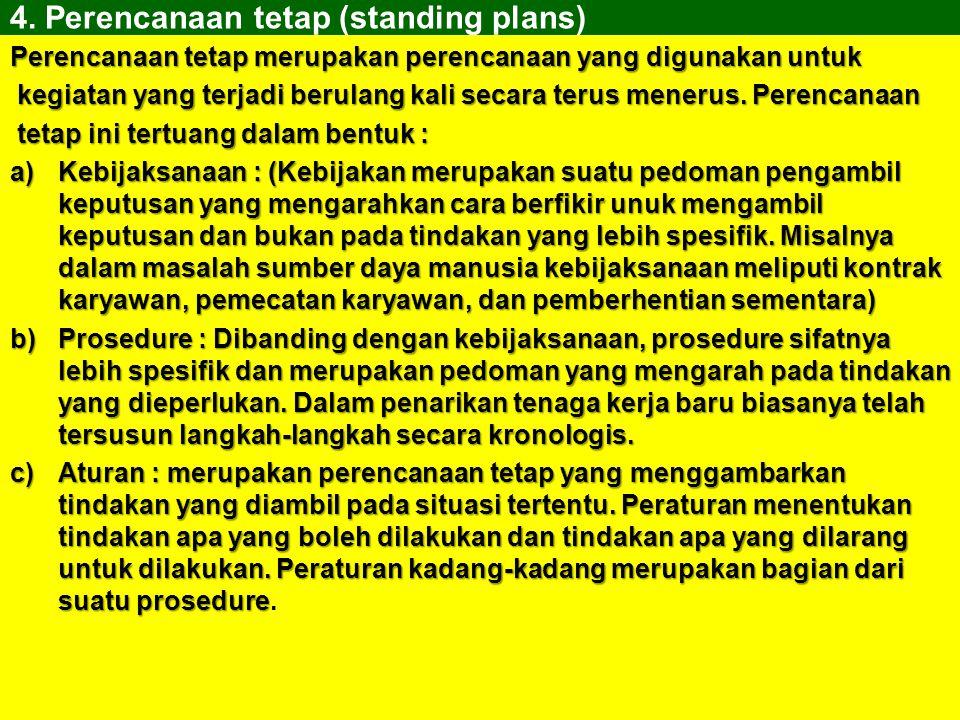 4. Perencanaan tetap (standing plans)