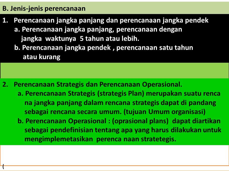 B. Jenis-jenis perencanaan