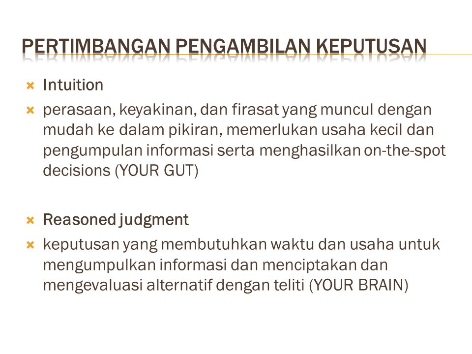 pertimbangan pengambilan keputusan