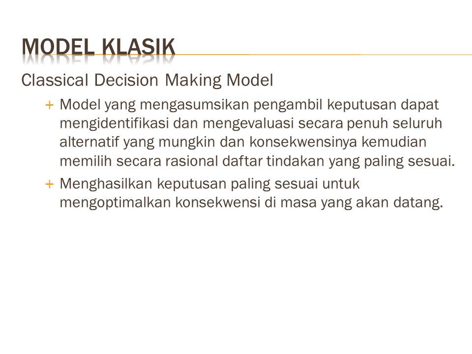 Model klasik Classical Decision Making Model