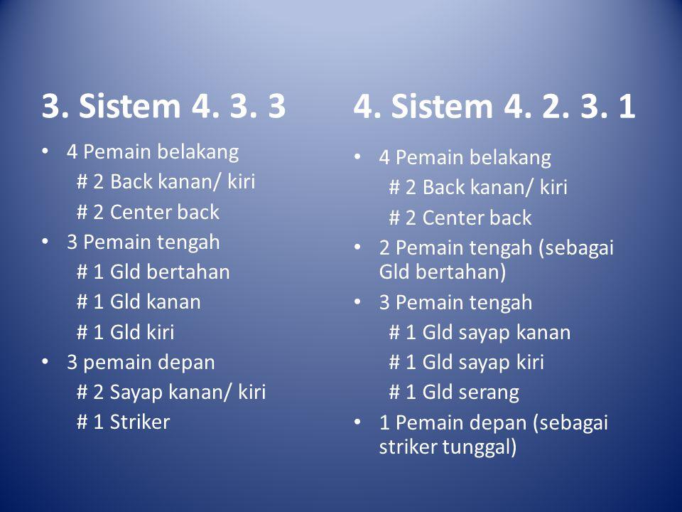3. Sistem 4. 3. 3 4. Sistem 4. 2. 3. 1 4 Pemain belakang