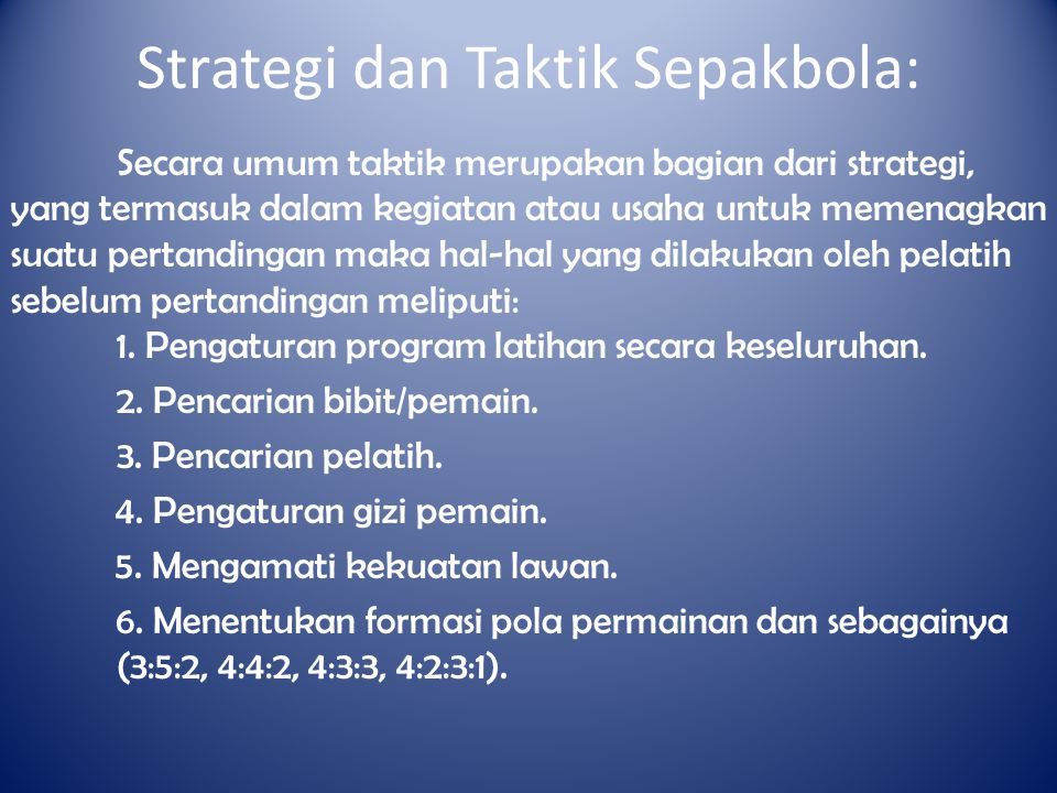 Strategi dan Taktik Sepakbola: