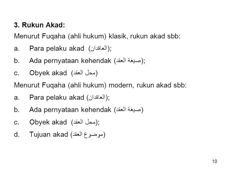 3. Rukun Akad: Menurut Fuqaha (ahli hukum) klasik, rukun akad sbb: Para pelaku akad (العاقدان); Ada pernyataan kehendak (صيغة العقد);