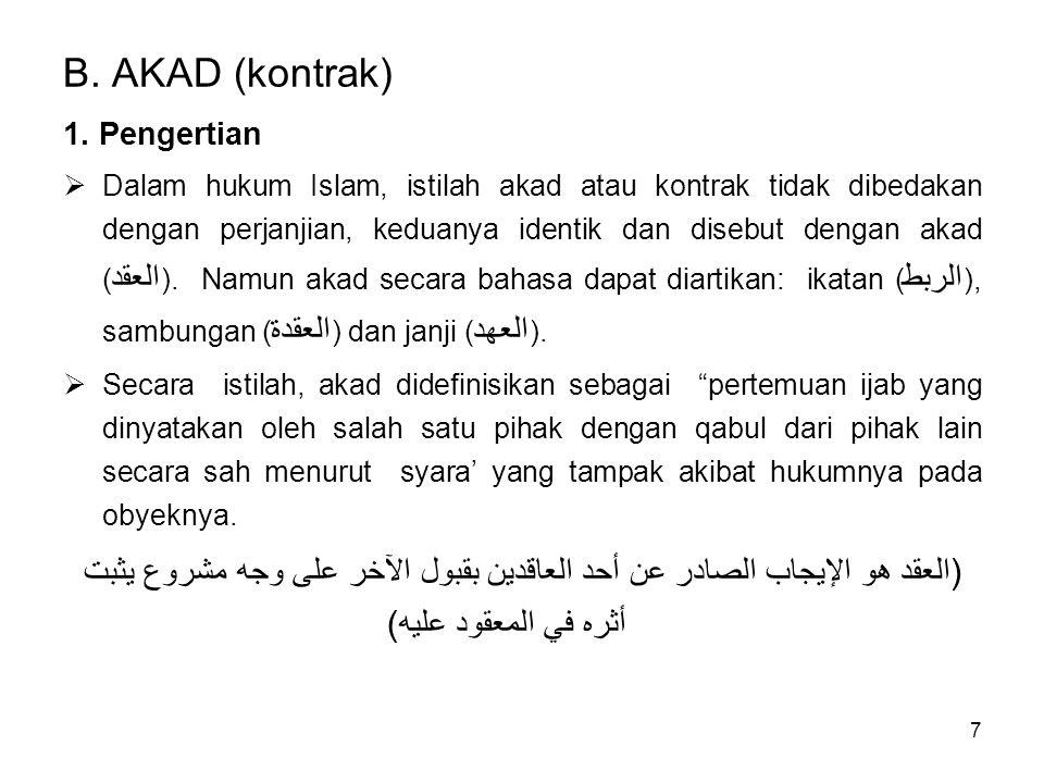 B. AKAD (kontrak) 1. Pengertian.