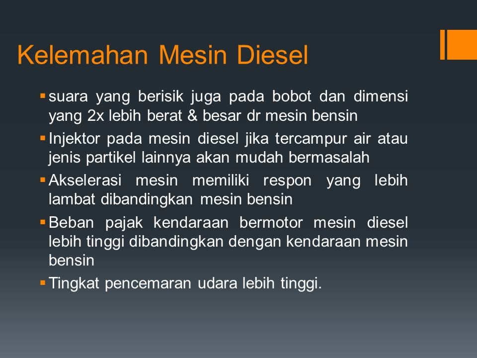 Kelemahan Mesin Diesel