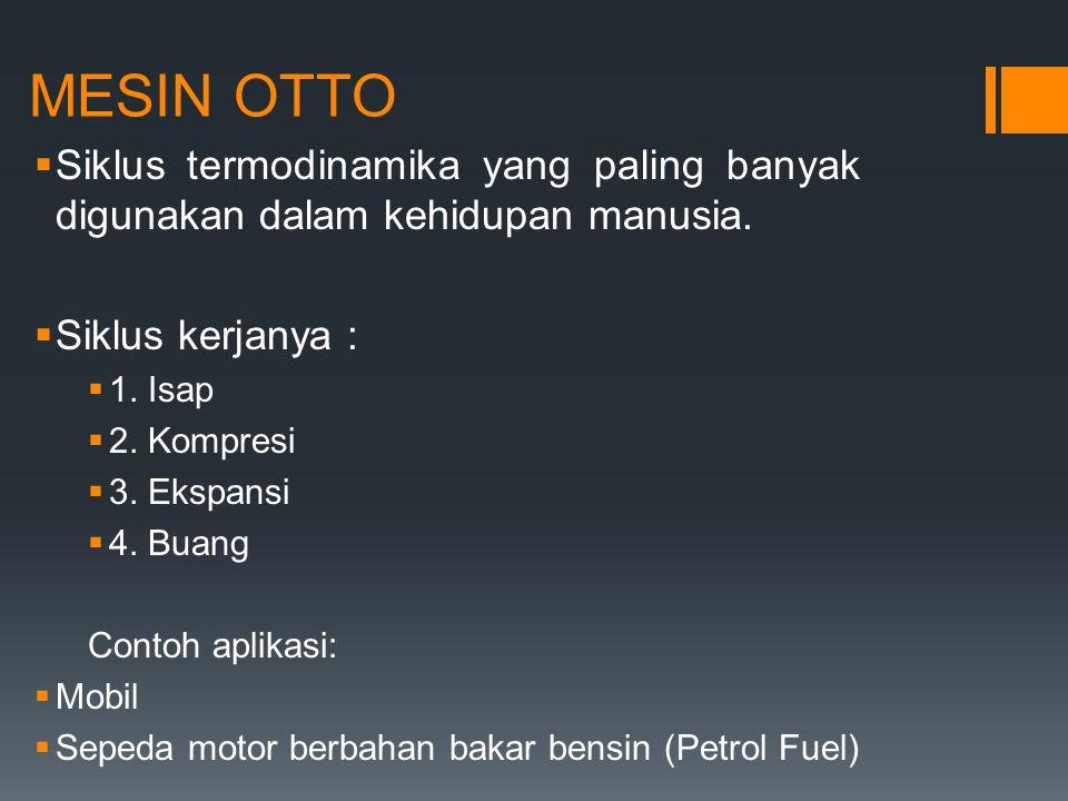 MESIN OTTO Siklus termodinamika yang paling banyak digunakan dalam kehidupan manusia. Siklus kerjanya :