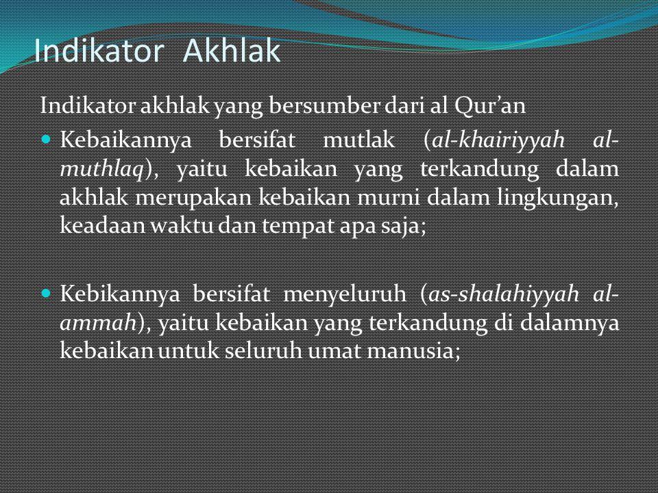 Indikator Akhlak Indikator akhlak yang bersumber dari al Qur'an