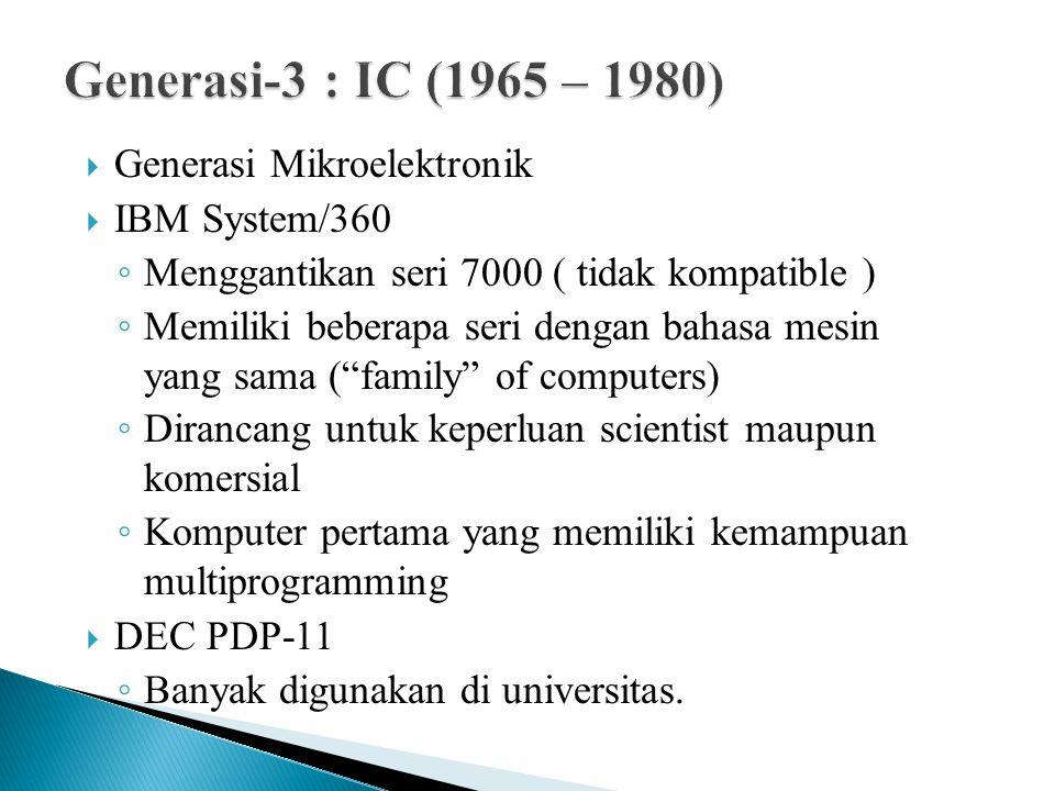 Generasi-3 : IC (1965 – 1980) Generasi Mikroelektronik IBM System/360