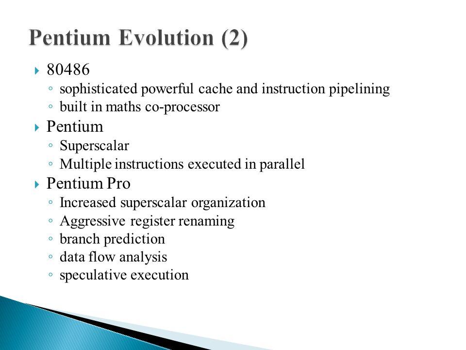 Pentium Evolution (2) 80486 Pentium Pentium Pro