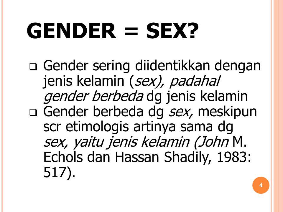 GENDER = SEX Gender sering diidentikkan dengan jenis kelamin (sex), padahal gender berbeda dg jenis kelamin.