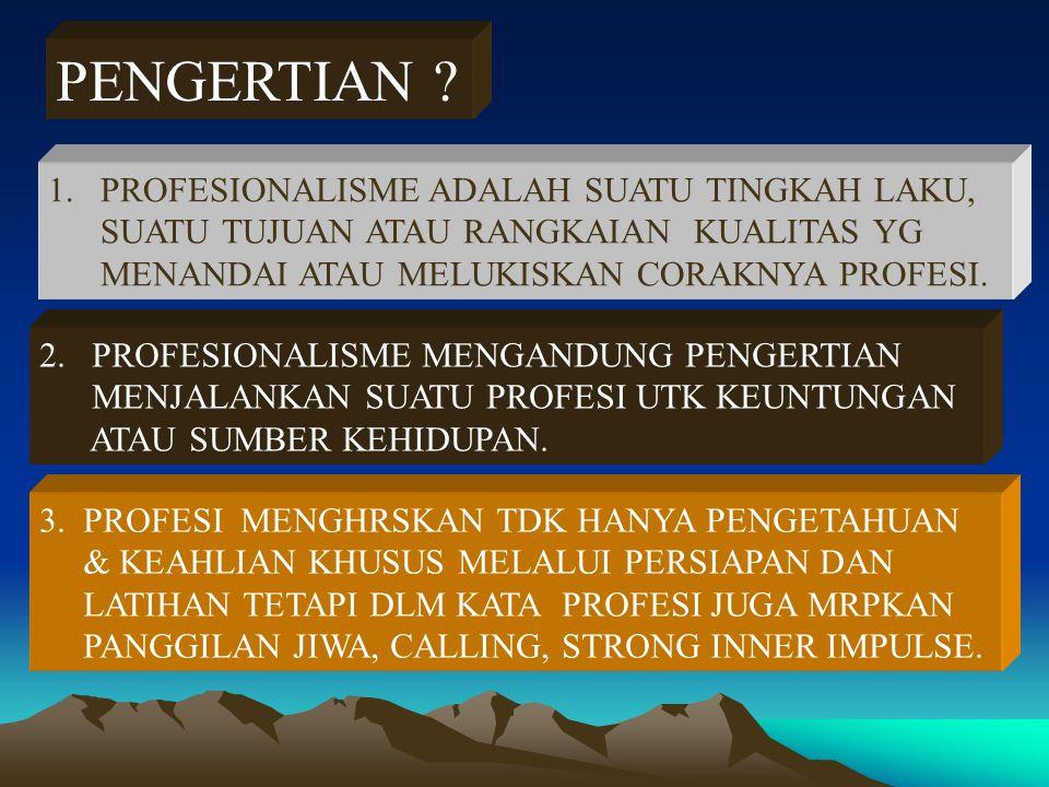 PENGERTIAN PROFESIONALISME ADALAH SUATU TINGKAH LAKU,
