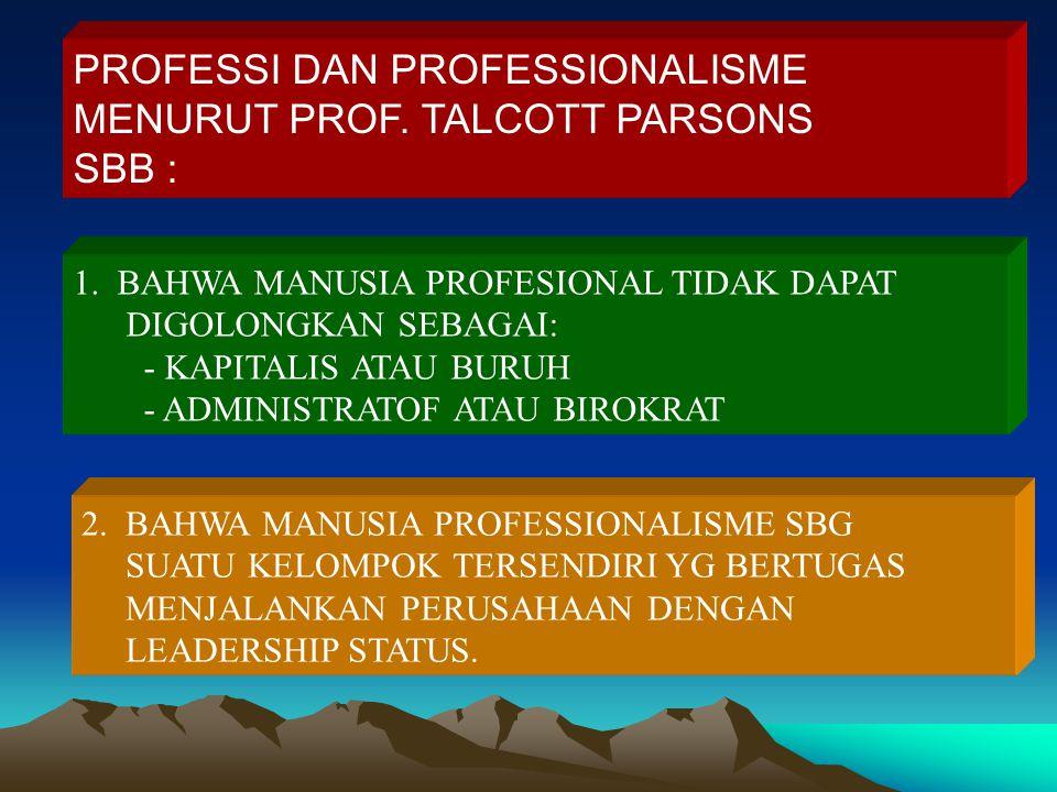 PROFESSI DAN PROFESSIONALISME MENURUT PROF. TALCOTT PARSONS SBB :