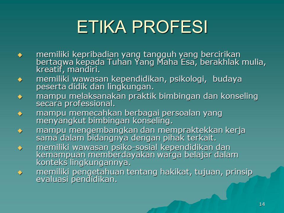 ETIKA PROFESI memiliki kepribadian yang tangguh yang bercirikan bertaqwa kepada Tuhan Yang Maha Esa, berakhlak mulia, kreatif, mandiri.