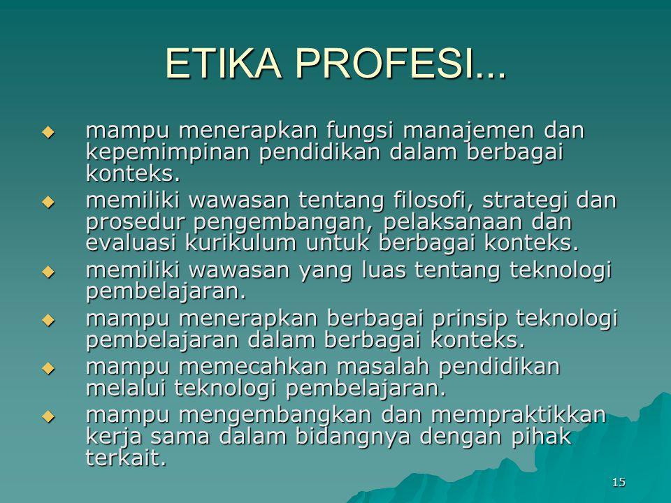 ETIKA PROFESI... mampu menerapkan fungsi manajemen dan kepemimpinan pendidikan dalam berbagai konteks.