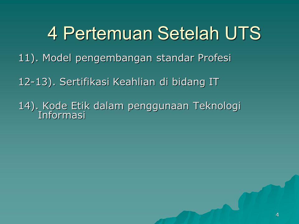 4 Pertemuan Setelah UTS 11). Model pengembangan standar Profesi