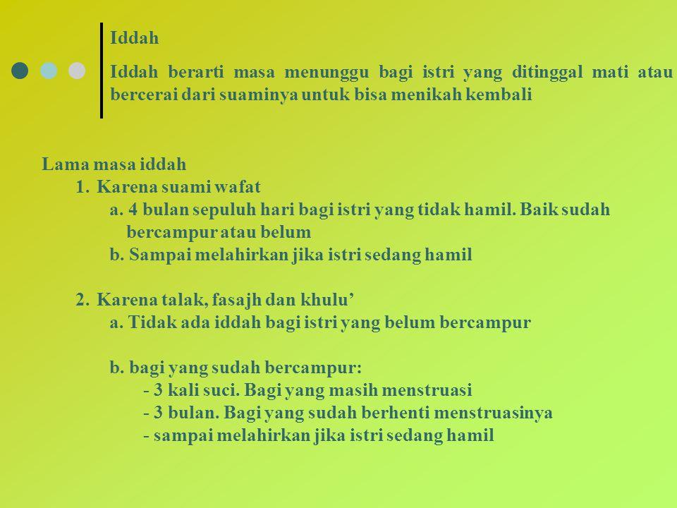 Iddah Iddah berarti masa menunggu bagi istri yang ditinggal mati atau bercerai dari suaminya untuk bisa menikah kembali.
