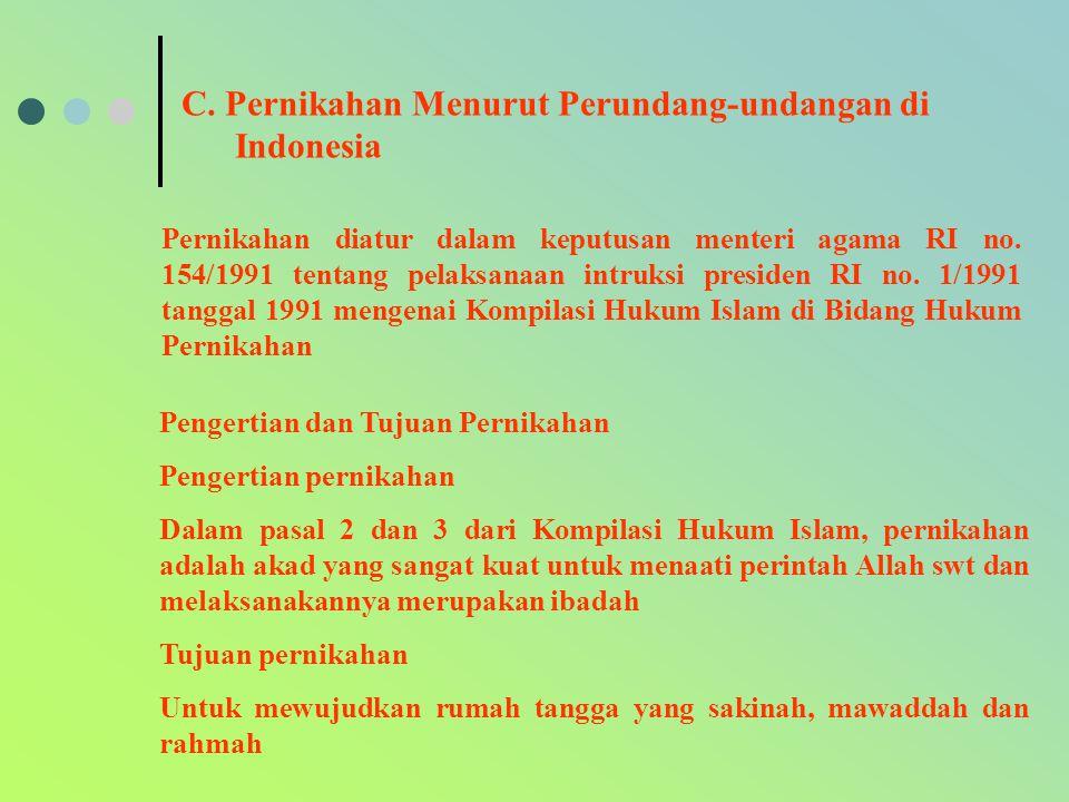 C. Pernikahan Menurut Perundang-undangan di Indonesia