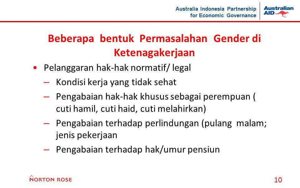 Beberapa bentuk Permasalahan Gender di Ketenagakerjaan