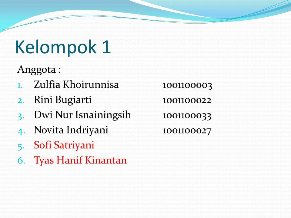 Kelompok 1 Anggota : Zulfia Khoirunnisa 1001100003