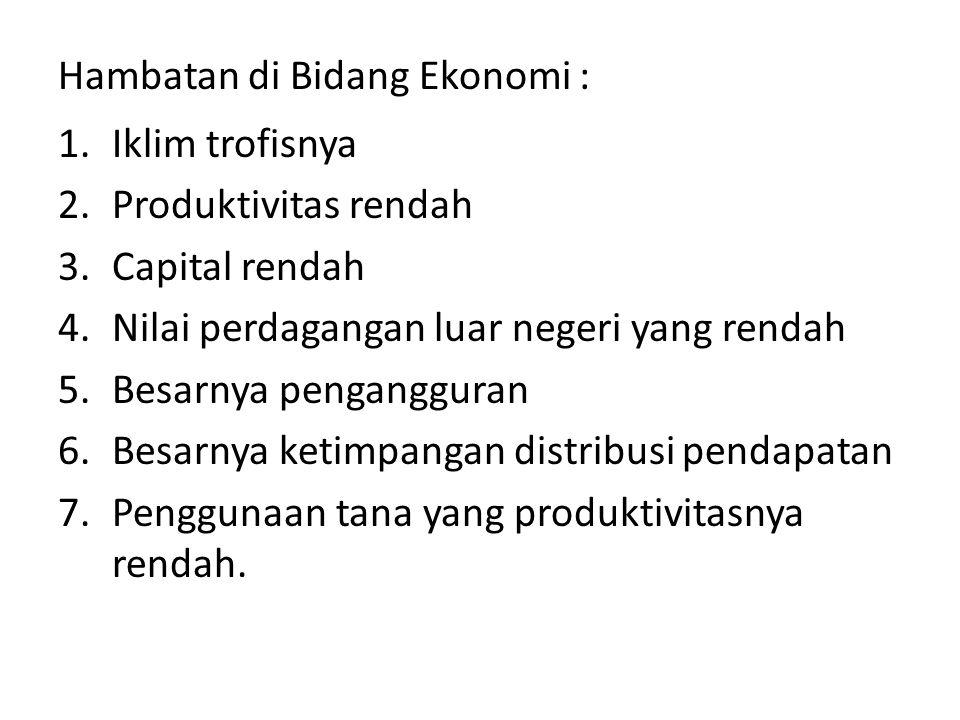 Hambatan di Bidang Ekonomi :