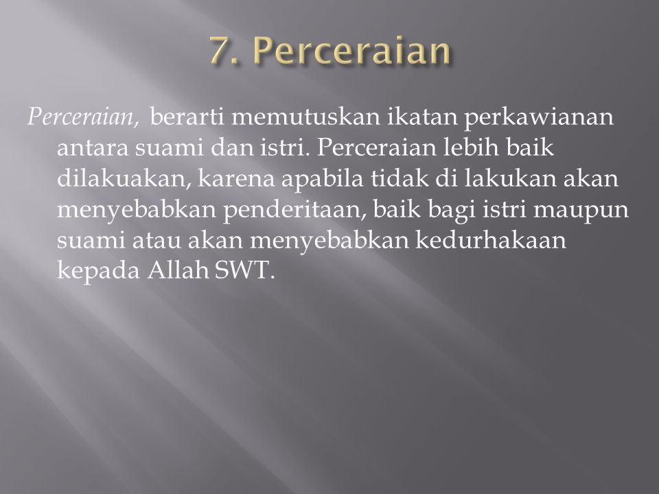 7. Perceraian